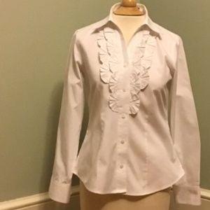 Foxcroft White No Iron Shirt with Ruffle Trim 0P